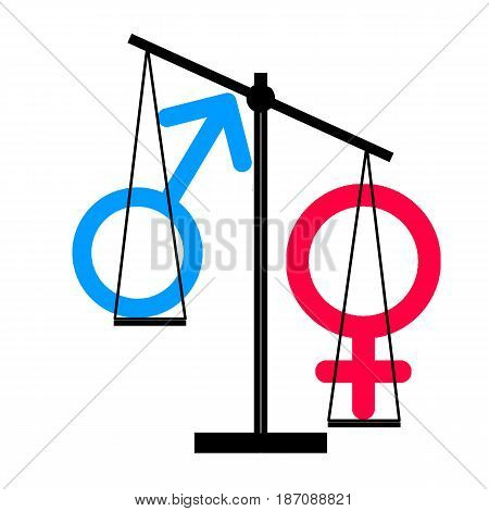 Illustration - of female inequality against male