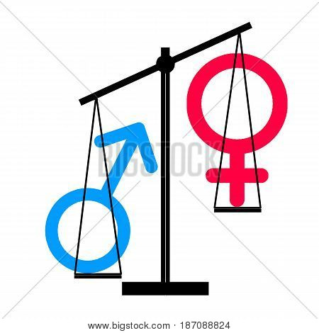 Illustration - of male  inequality against woman