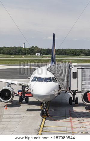 Lufthansa Airbus Is Rady For Boarding  At The New Terminal In Hamburg