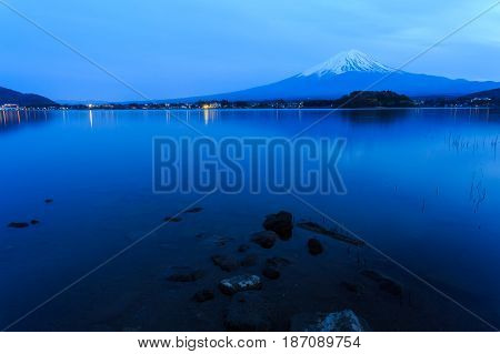 Mount fuji at Lake kawaguchiko in the twilight.