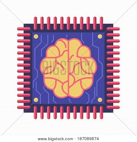 Vector illustration of a microchip with contact pins and brain symbol isolated on white.