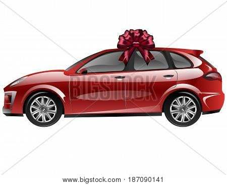 Red automobile with ribbon bow. Car as a gift. Vector illustration