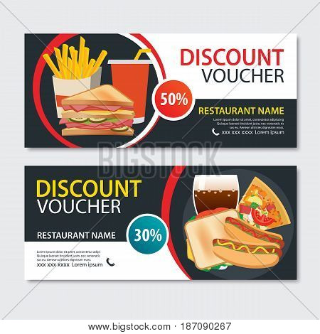 Discount voucher fast food template design. Set of pizza sandwich french fries hot dog