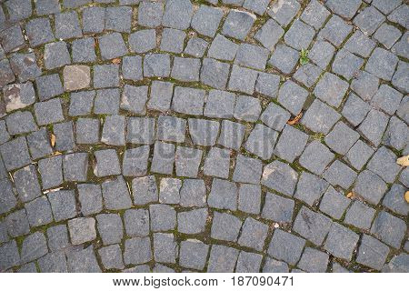 Old textured pavers in St Petersburg Russia