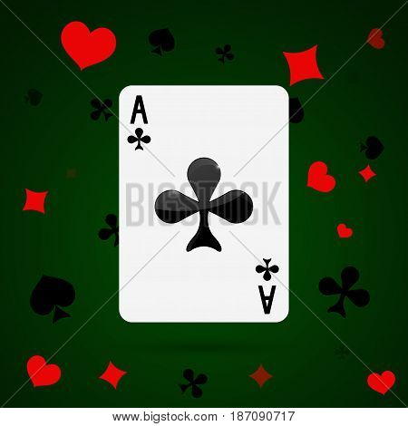 Ace of clubs. Playing card . Vector illustration