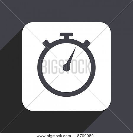 stopwatch flat design web icon isolated on gray background