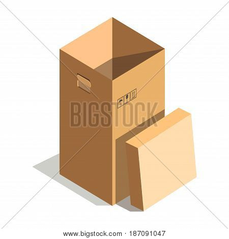 Vector illustration of big height beige cardboard box isolated on white.