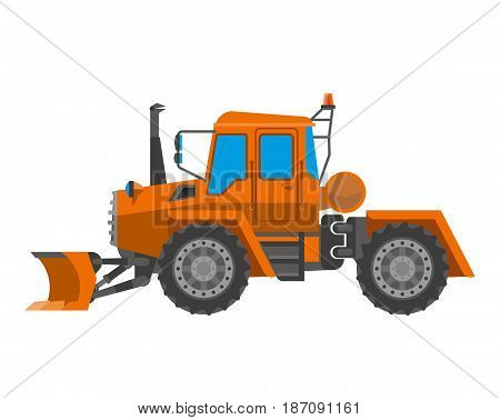 Vector illustration of orange colored heavy tractor isolated on white.