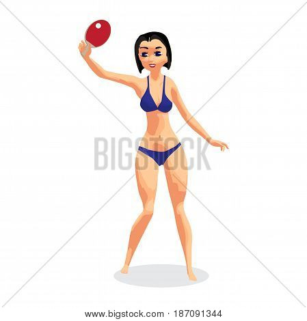 Young woman in bikini with racket for table tennis. A girl in a swimsuit on the beach plays ping-pong. Flat isolated vector illustration