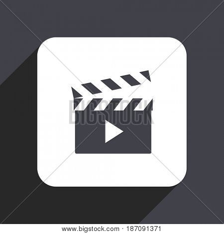 Video flat design web icon isolated on gray background