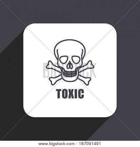 Toxic skull flat design web icon isolated on gray background