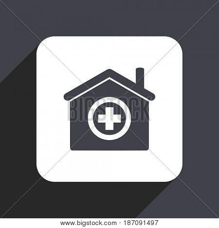 Hospital flat design web icon isolated on gray background