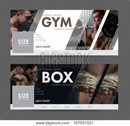 White and black cover design for social networks. Universal Advertising template banner with diagonal elements for the image of the gym sports. Blurred photo for sample