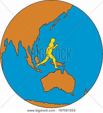 Drawing sketch style illustrations of marathon triathlete runner running viewed from the side set inside globe showing Asia Pacific and the world.