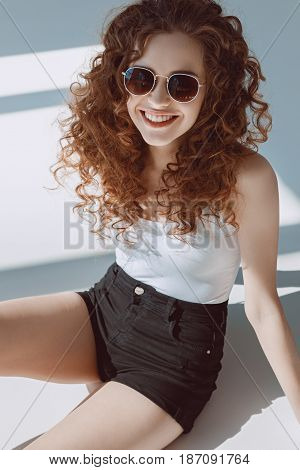 portrait of beautiful red hair stylish girl hipster girl smiling