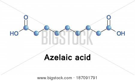 Azelaic acid is organic compound. It is found in wheat, rye, and barley. It is precursor to diverse industrial products including polymers, plasticizers, and component of hair and skin conditioners