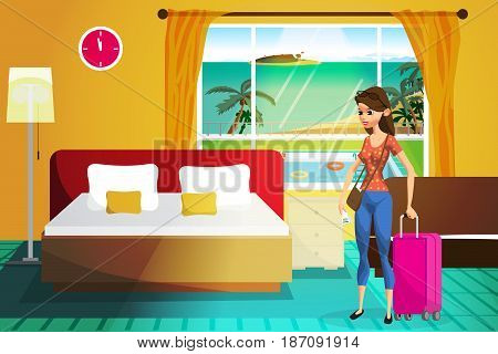 Young woman on vacation is accommodated in a hotel. Girl tourist travel arrival to tropical islands. Flat vector cartoon illustration