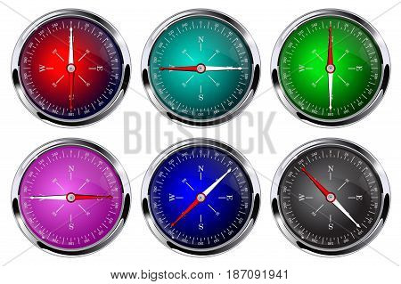 Compass. Glossy compass with chrome frame.  Vector illustration isolated on white background