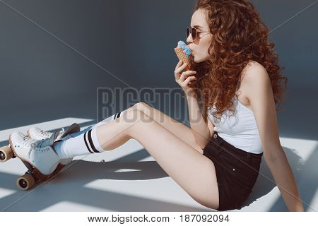 Beautiful Red Hair Girl In Sunglasses Eating Ice Cream, Hipster Girl