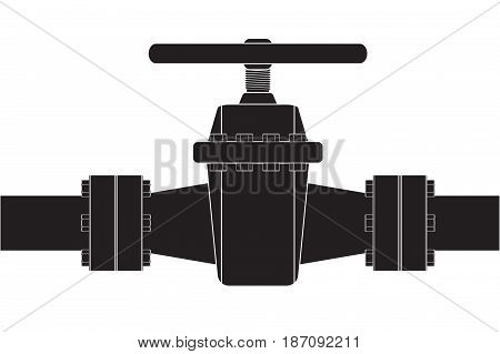 Pipe with flange and valve. Vector illustration isolated on white background