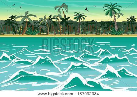 Sea landscape summer tropical beach with palm trees. Tropical island wave. Vector cartoon flat illustration