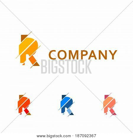 R Letter Pixel Multiply Colorful Logo Design Template