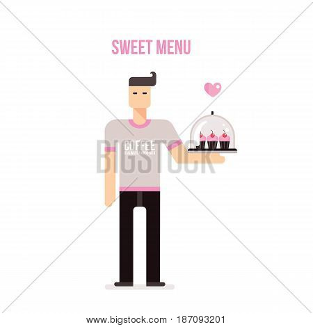 Young man with tray bringing delicious cupcakes on white background Vector illustration