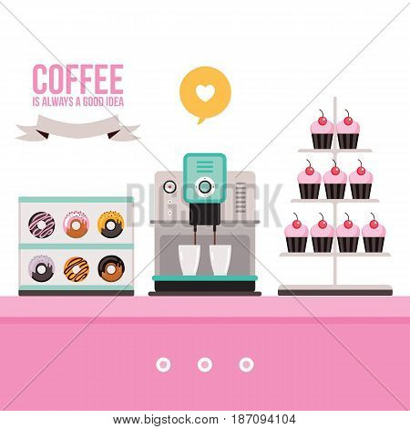 Delicious sweet desserts Donuts Cupcakes Coffee machine on pink table Vector illustration