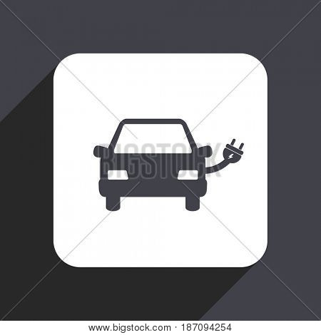 Electric car flat design web icon isolated on gray background