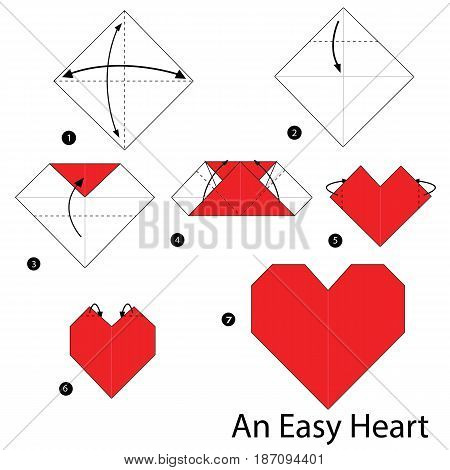 step by step instructions how to make origami An Easy Heart.