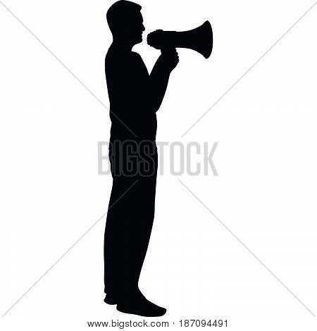 man with megaphone in hand silhouette vector