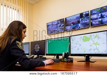 Uzhgorod Ukraine - May 5 2017: Police woman processes real-time data during the opening of the modern situation center of the National Police of Ukraine in the Transcarpathian region.