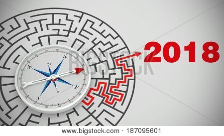Compass in maze pointing to new year 2018 as new year's eve concept (3D Rendering)