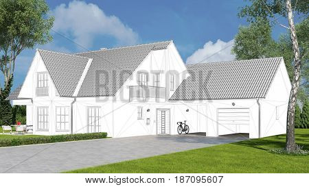 CAD drawing of single family house in nature with green garden (3D Rendering)