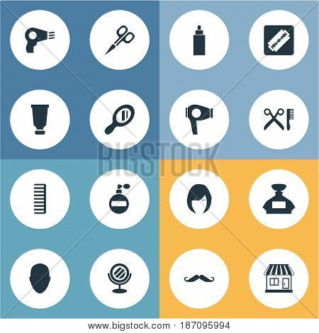 Vector Illustration Set Of Simple Barber Icons. Elements Reflector, Shaver, Barber Tools And Other Synonyms Reflector, Woman And Male.