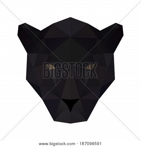 Low poly illustration. Panther head. Polygonal art