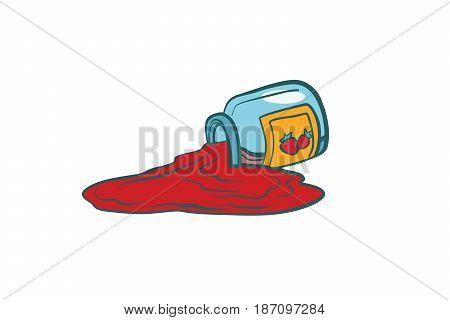 Glass jar with strawberry jam. Comic book cartoon pop art retro color vector illustration hand drawn