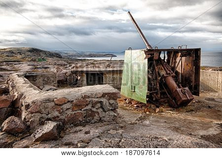 Artillery defence on the north coast in Teriberka Russia