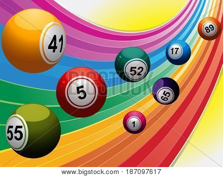 3D Illustration of Bingo Lottery Balls Over Curved Rainbow Background