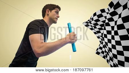 Digital composite of Relay runner against yellow background with flare and checkered flag