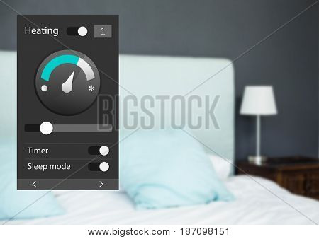Digital composite of Home automation system heating App Interface