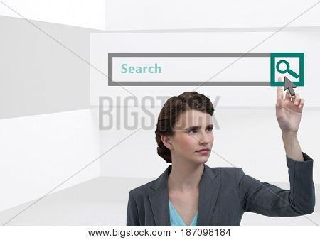 Digital composite of Search Bar with woman pointing