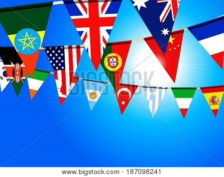 Colourful World Flags Bunting Over Deep Blue Sunny Sky Background