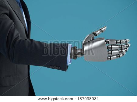 Digital composite of Robot businessman hand open for handshake with blue background