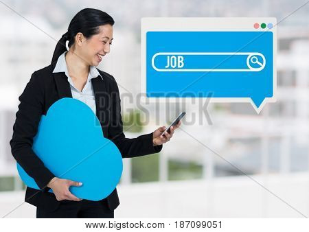 Digital composite of Job Search Bar box with woman holding phone and cloud