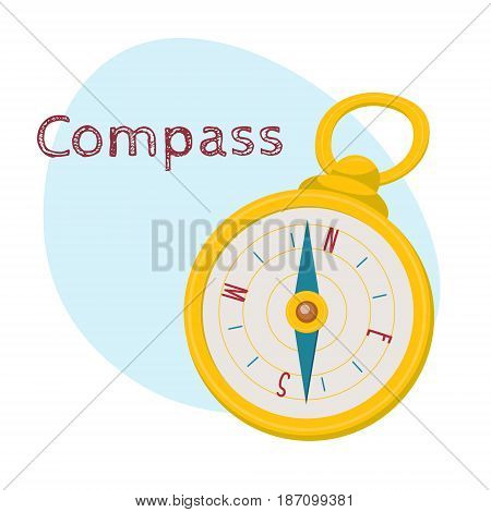 Golden retro style navigational compass with north, south, east, west indications, cartoon vector illustration isolated on white background. Cartoon style navigational compass in golden case