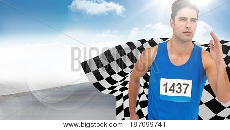 Digital composite of Male runner sprinting on road against sky and sun with flare and checkered flag