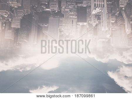 Digital composite of up side down city. only up