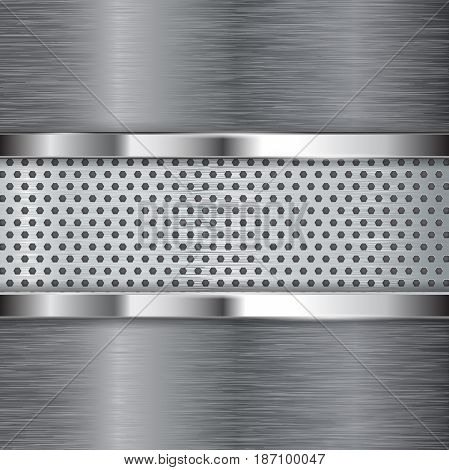 Metal background. Chrome frame and perforated plate. Vector illustration