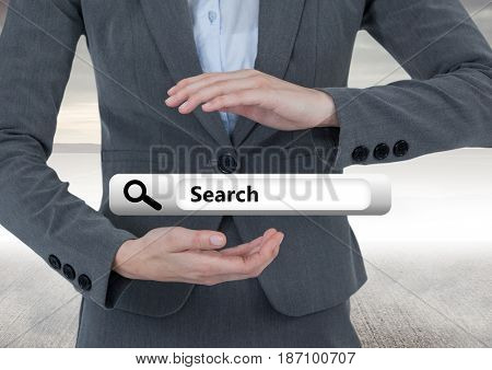 Digital composite of Hands holding Search Bar with sea background